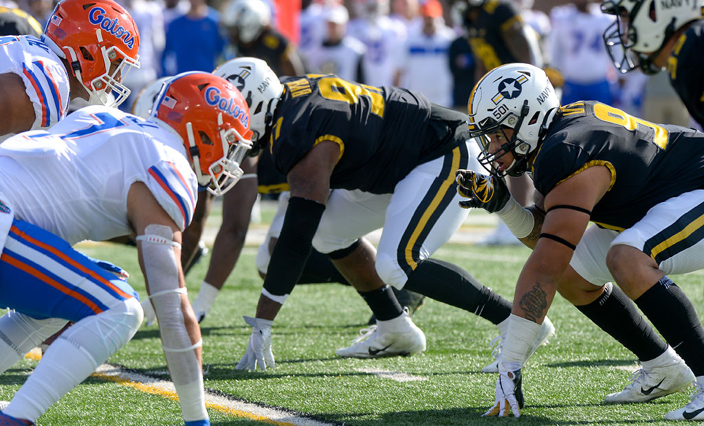 Missouri defensive lineman Markell Utsey anticipates the ball being snapped (copy)