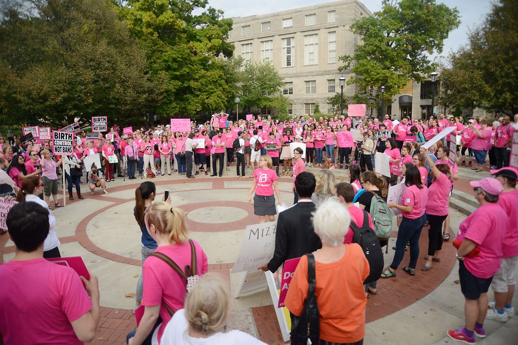 Several hundred people attended a Pink Out demonstration