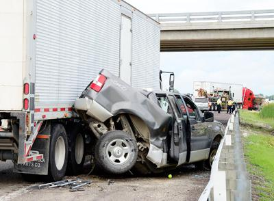 Ford F-150 truck remains crushed