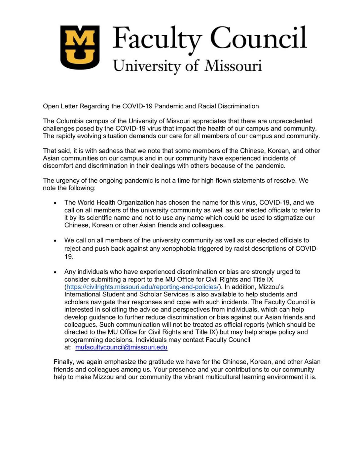 MU Faculty Council letter