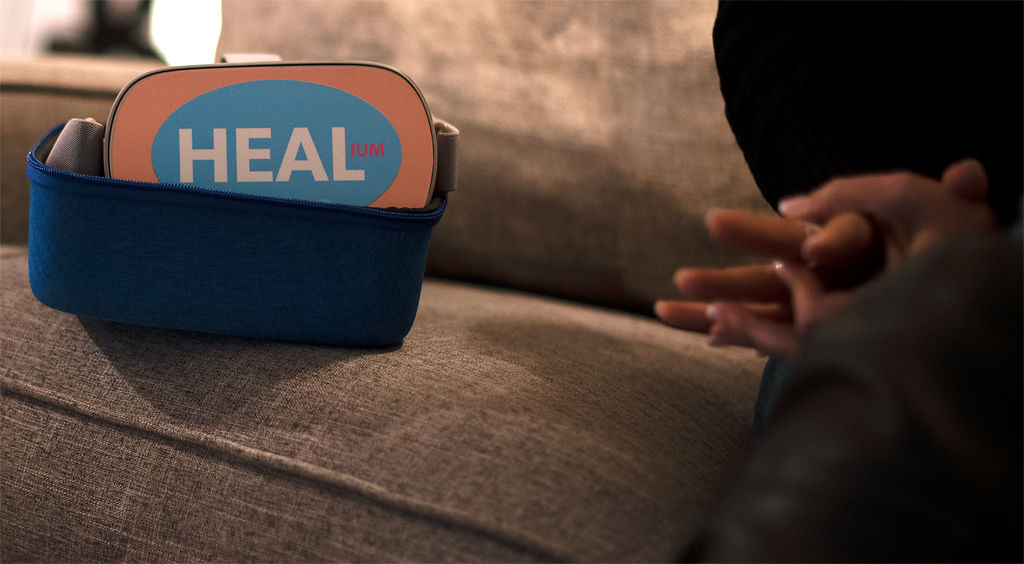 Sarah Hill's virtual reality headset sits on the edge of her couch