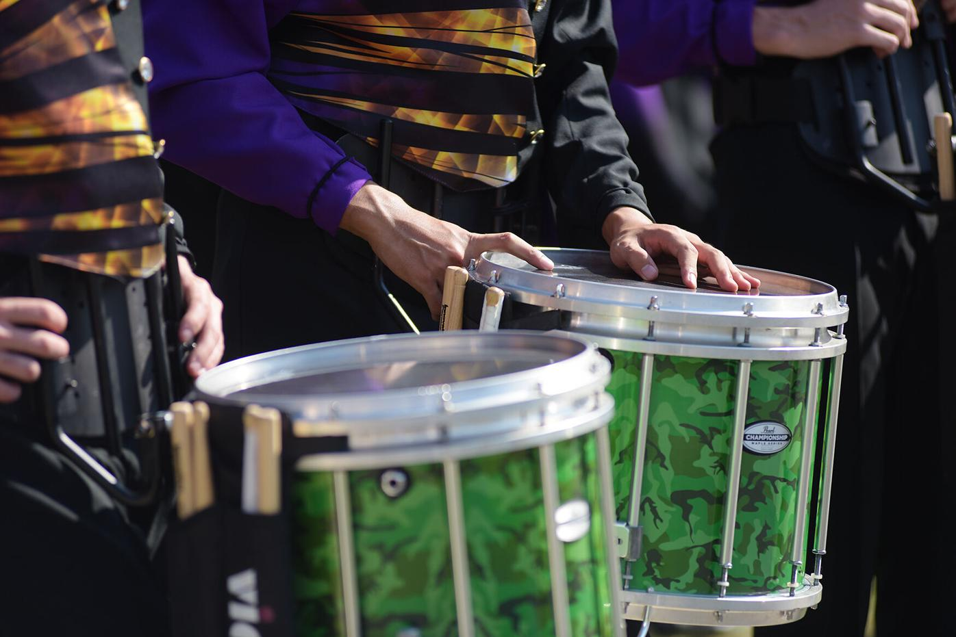 Hickman percussionists line up to play