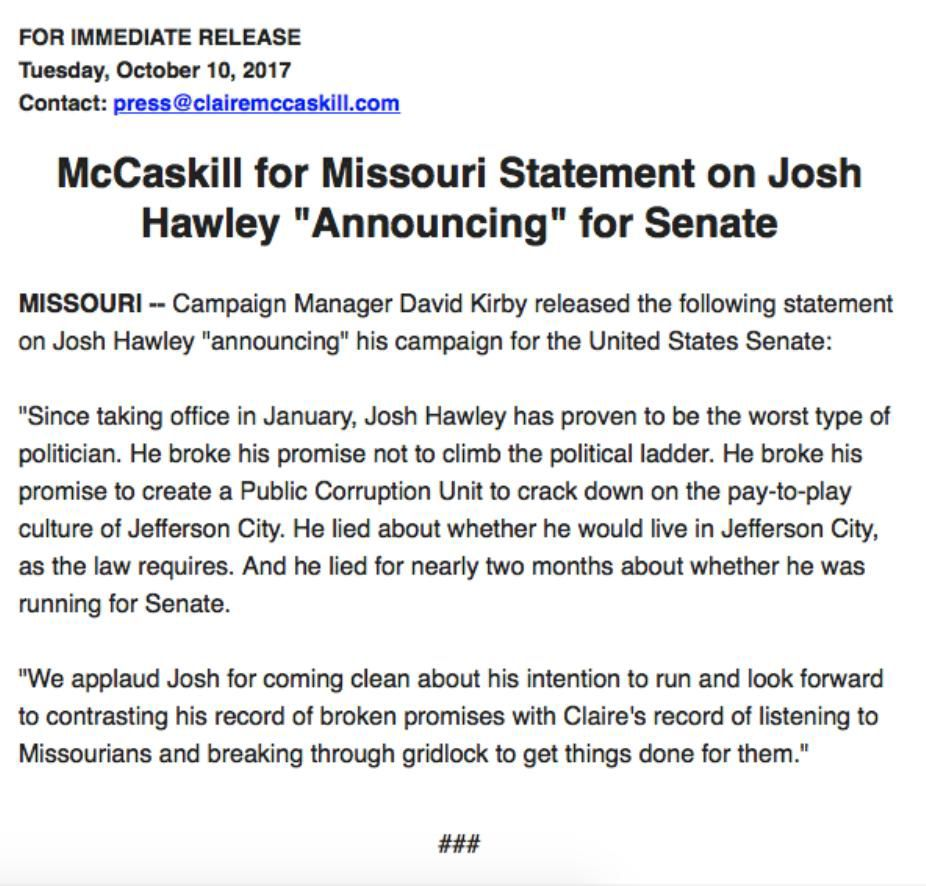 FACT CHECK: McCaskill's campaign says Hawley broke his promise but public corruption unit exists