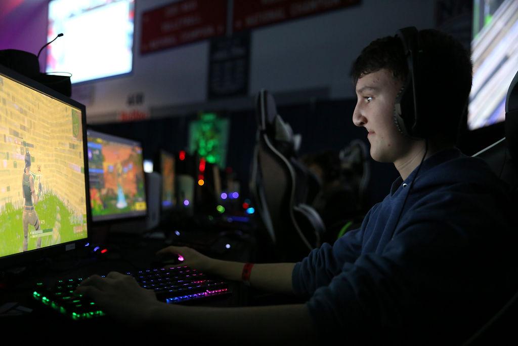 Dallin Hemming, 14, plays in a Fortnite tournament