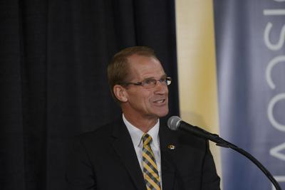 Jim Sterk speaks at his first news conference