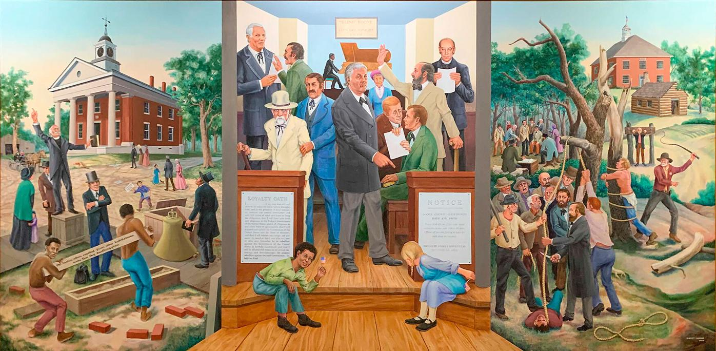One of the two Mural that hang in the stairwell of the Boone County Courthouse