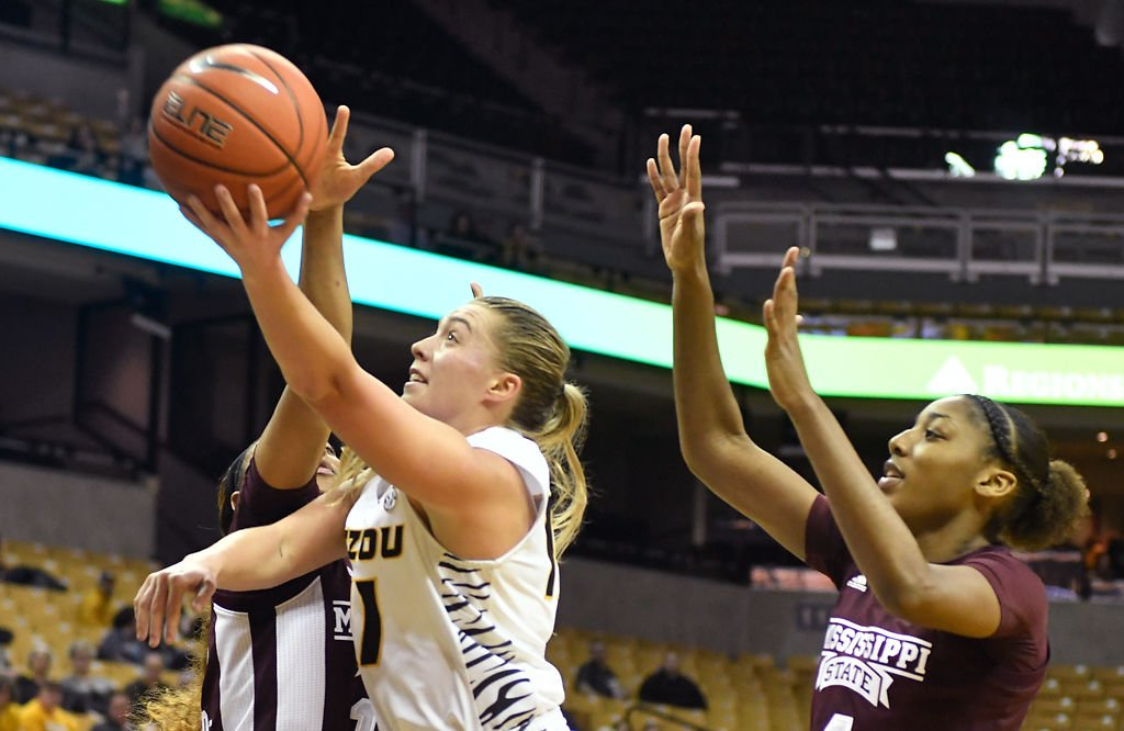Haley Troup drives to the basket against Mississippi State