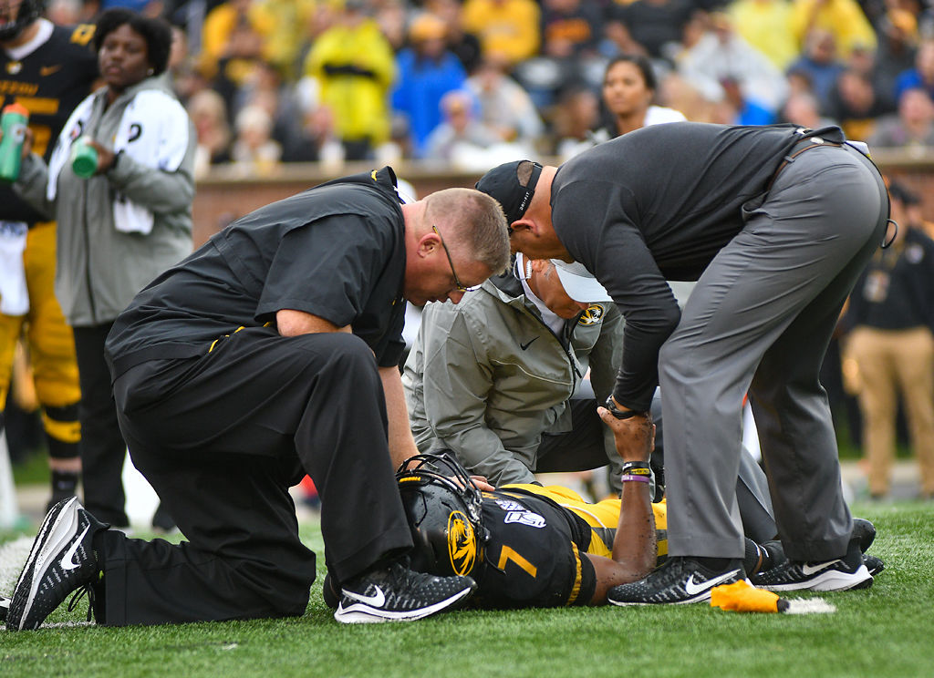 Missouri QB Kelly Bryant lies hurt on the ground
