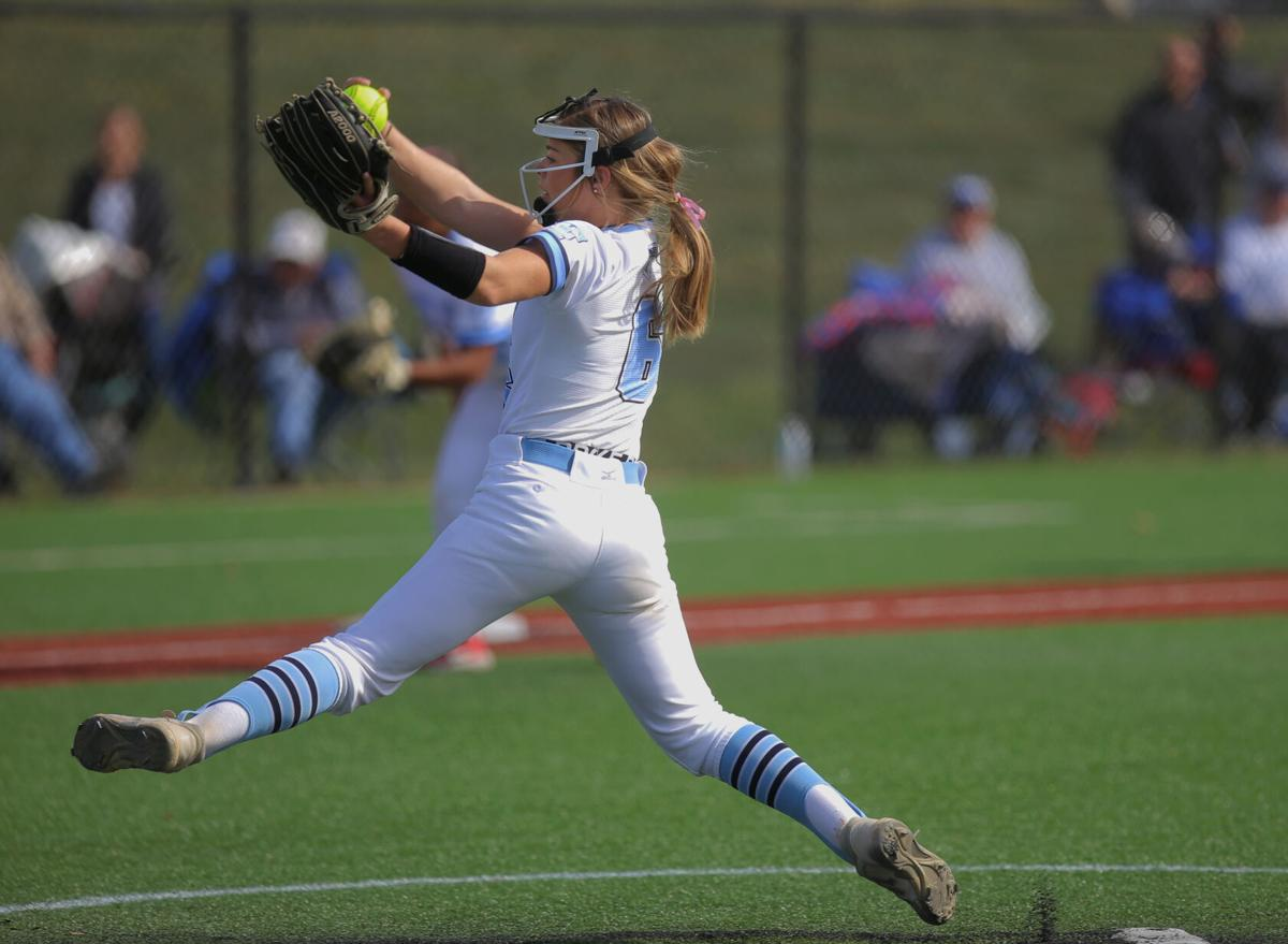 Tolton senior Paige Bedsworth throws a pitch