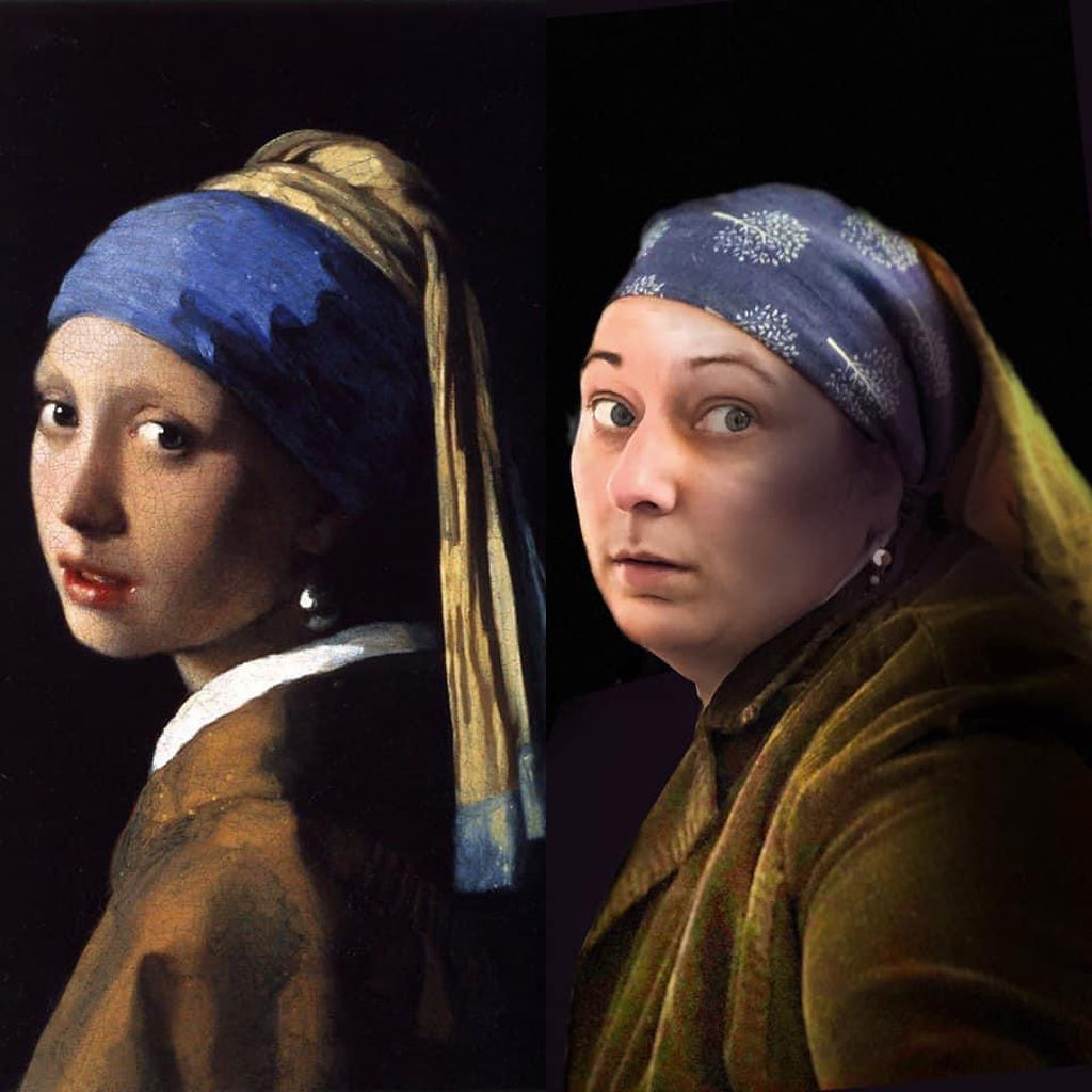 Anna McMillen recreates 'Girl with a Pearl Earring' by Johannes Vermeer