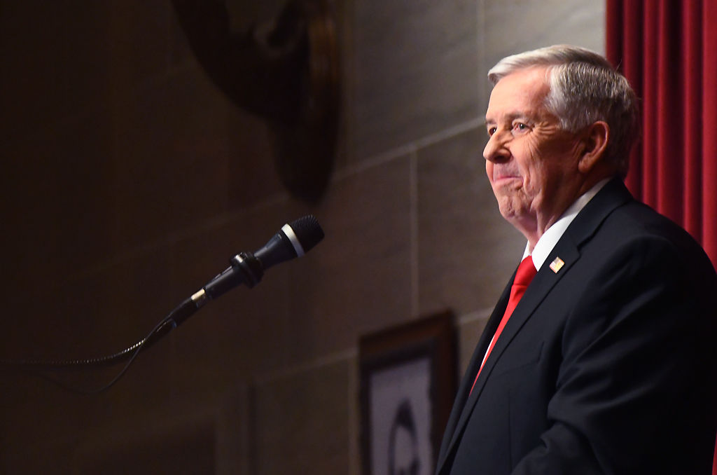 Gov. Mike Parson addresses the Missouri General Assembly