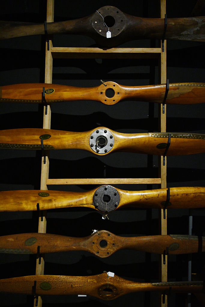 Fahlin propellers are displayed on a rack