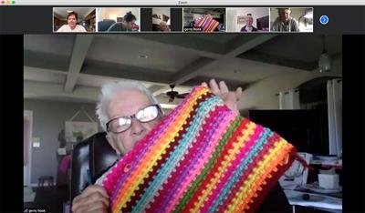 Gerry Hook shows off her crocheted blanket