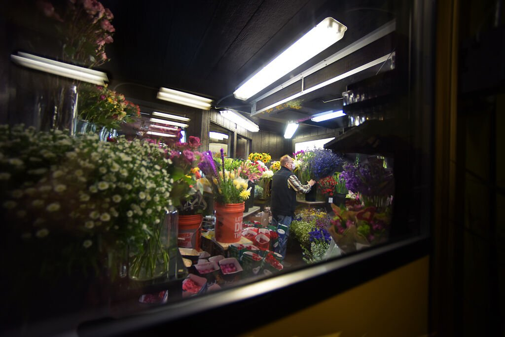 Kent Anderson brings flower into the cooler