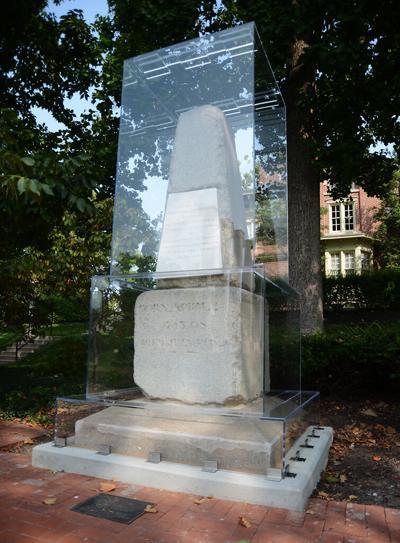Thomas Jefferson's original tombstone sports new PPE