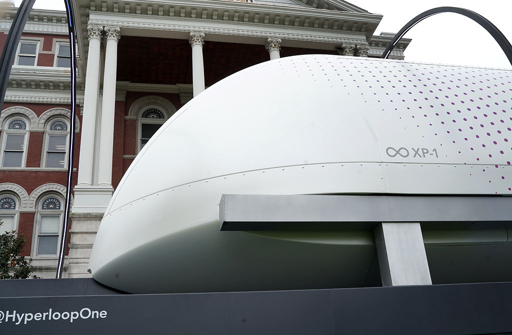 The Hyperloop sits outside Jesse Hall on Thursday