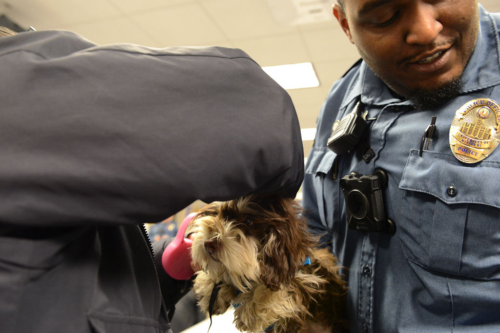 Officer John Hayes attaches a leash to Mia, the six-month-old puppy