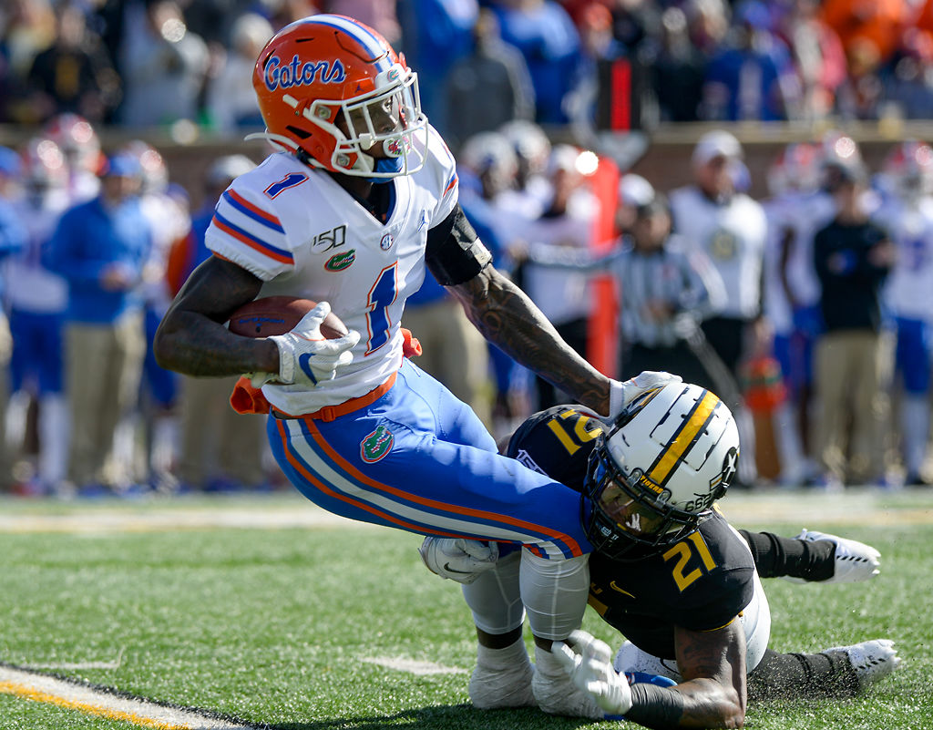 Florida running back Kadarius Toney is brought to the ground by Missouri defensive back Christian Holmes (copy)