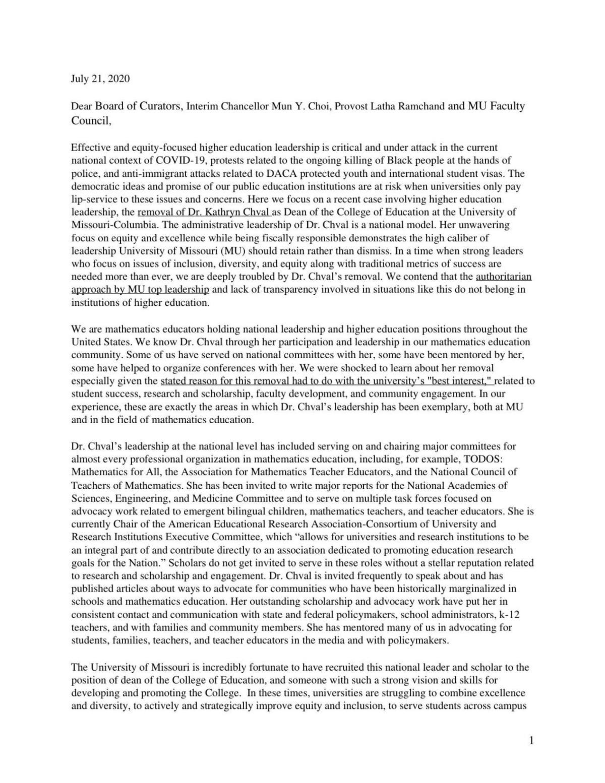 Math education scholars letter