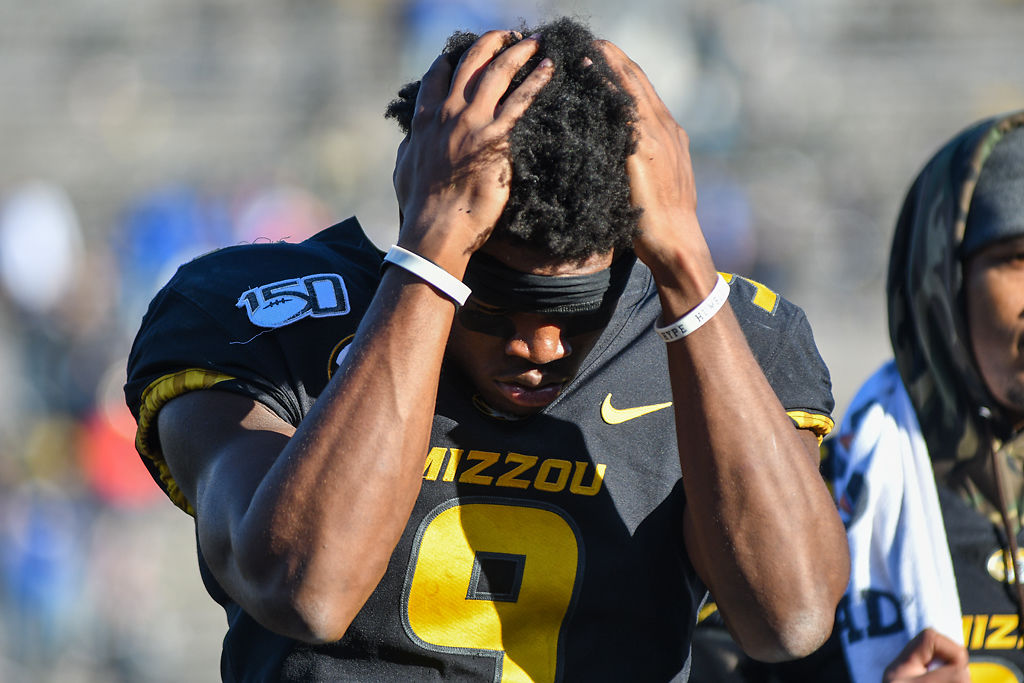 Missouri wide receiver Jalen Knox holds his head in frustration