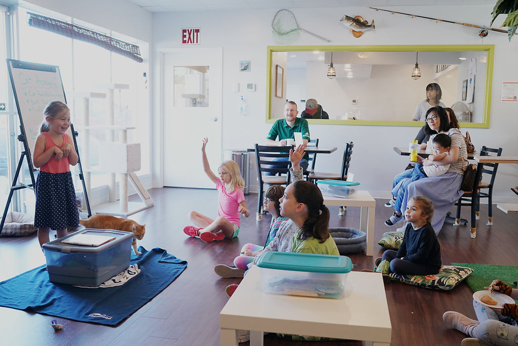Stella Everett-Kennedy leads a group of children at Papa's Cat Cafe's Children's Cat Academy
