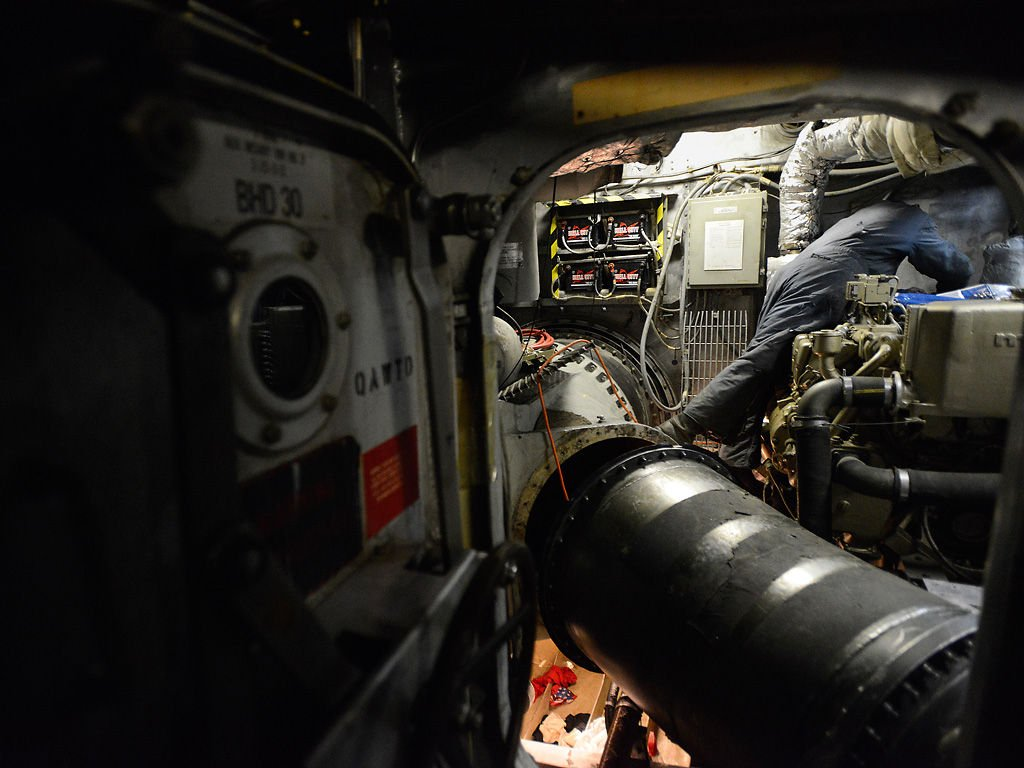 Bob Meinhardt works in the engine room