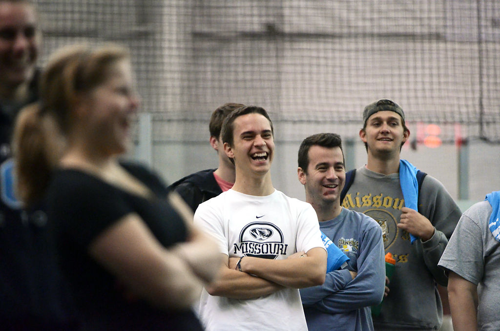 Stephen Graf and others laugh before competing