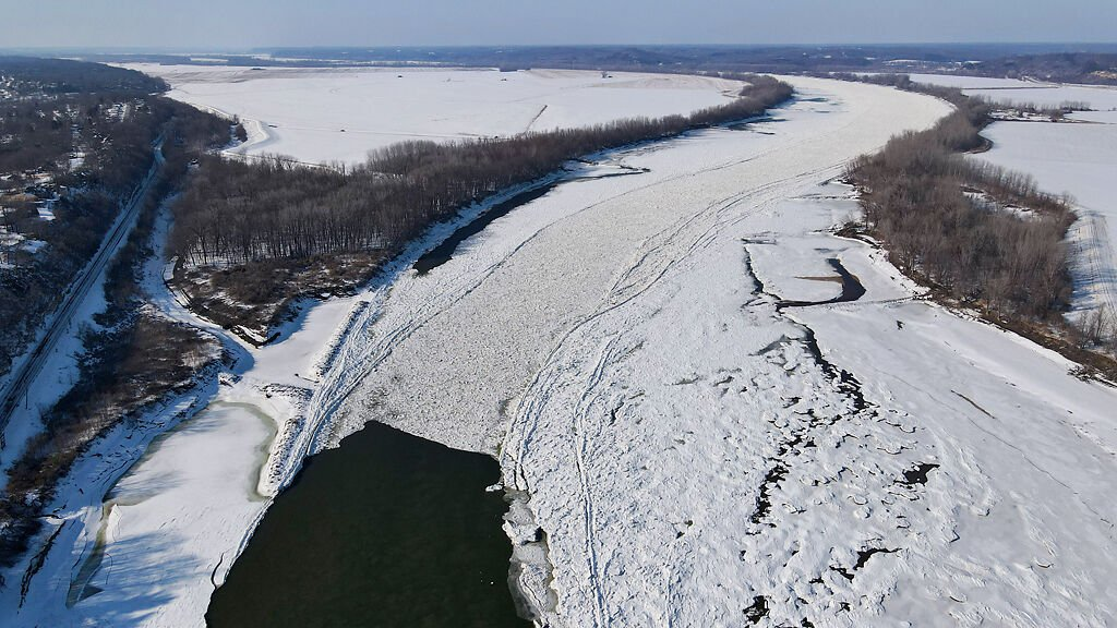 An ice blockage extends