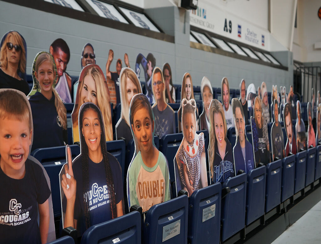 Cardboard cutouts replace fans on Monday at Southwell Complex.