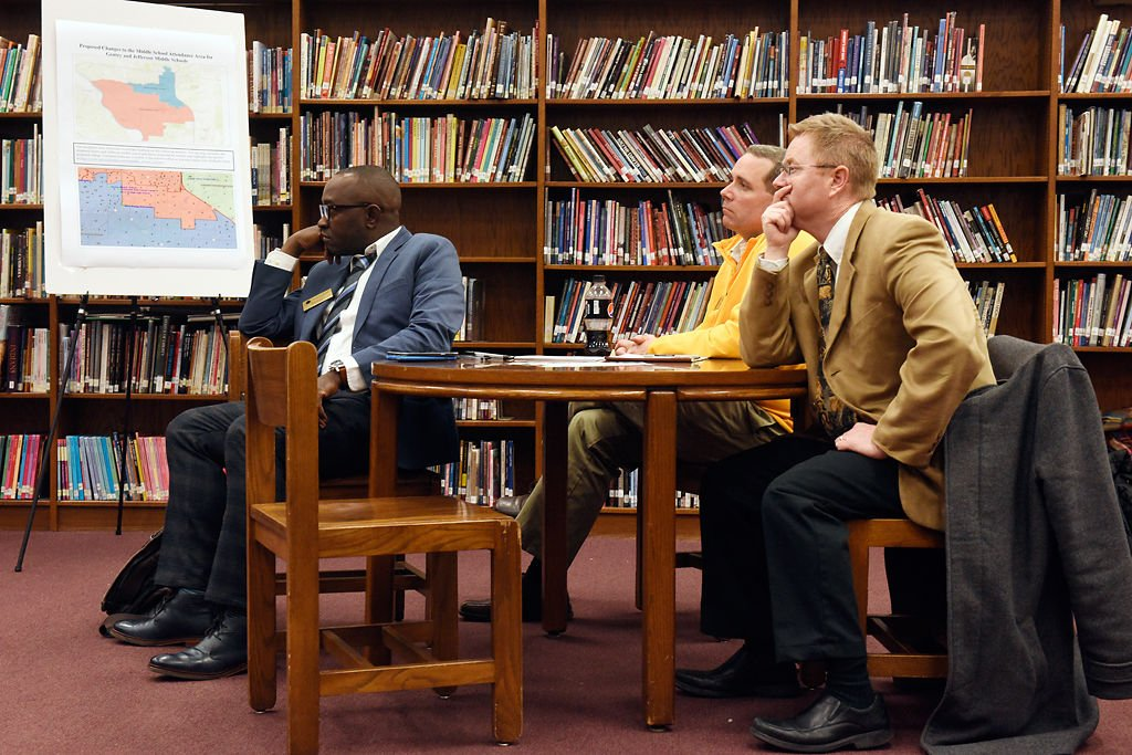 People talk about proposed boundary changes at Jefferson Middle School
