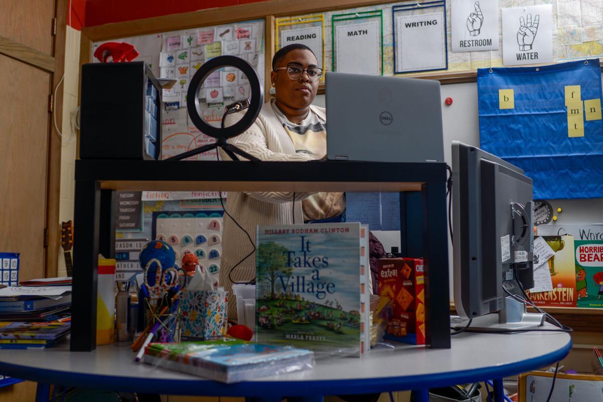 Dawnavyn James prepares for class in her classroom