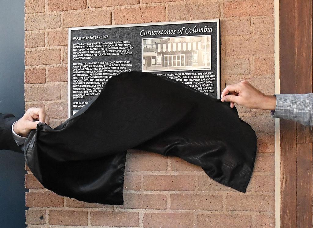 Joe Henderson and Mayor Brian Treece unveil the Cornerstones of Columbia plaque
