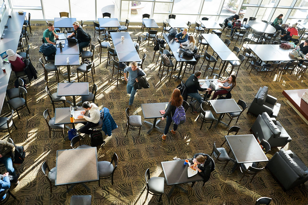 Students study and eat lunch during MU's first day of school