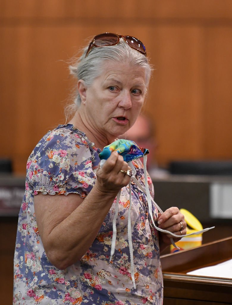 Patricia Casey testifies in opposition to the proposed mask ordinance