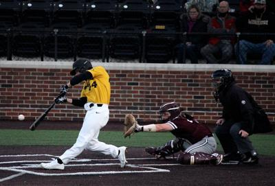 Missouri freshman Trevor Austin, hits the first home run of the game, giving MU an early advantage over Texas A&M, who had won the previous night 16-2, (copy)