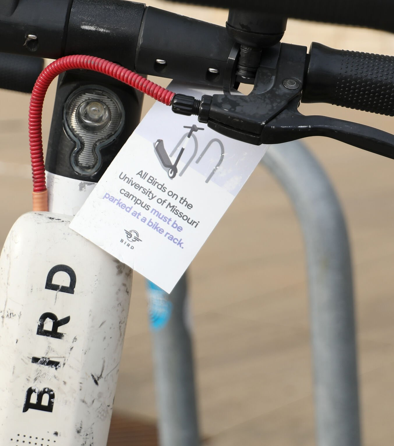 A tag reminding riders to park at bike racks hangs on a Bird scooter