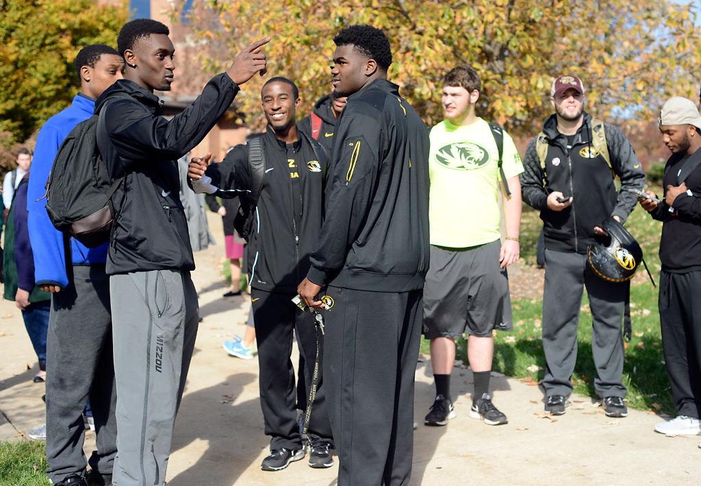 Missouri football players talk after walkout