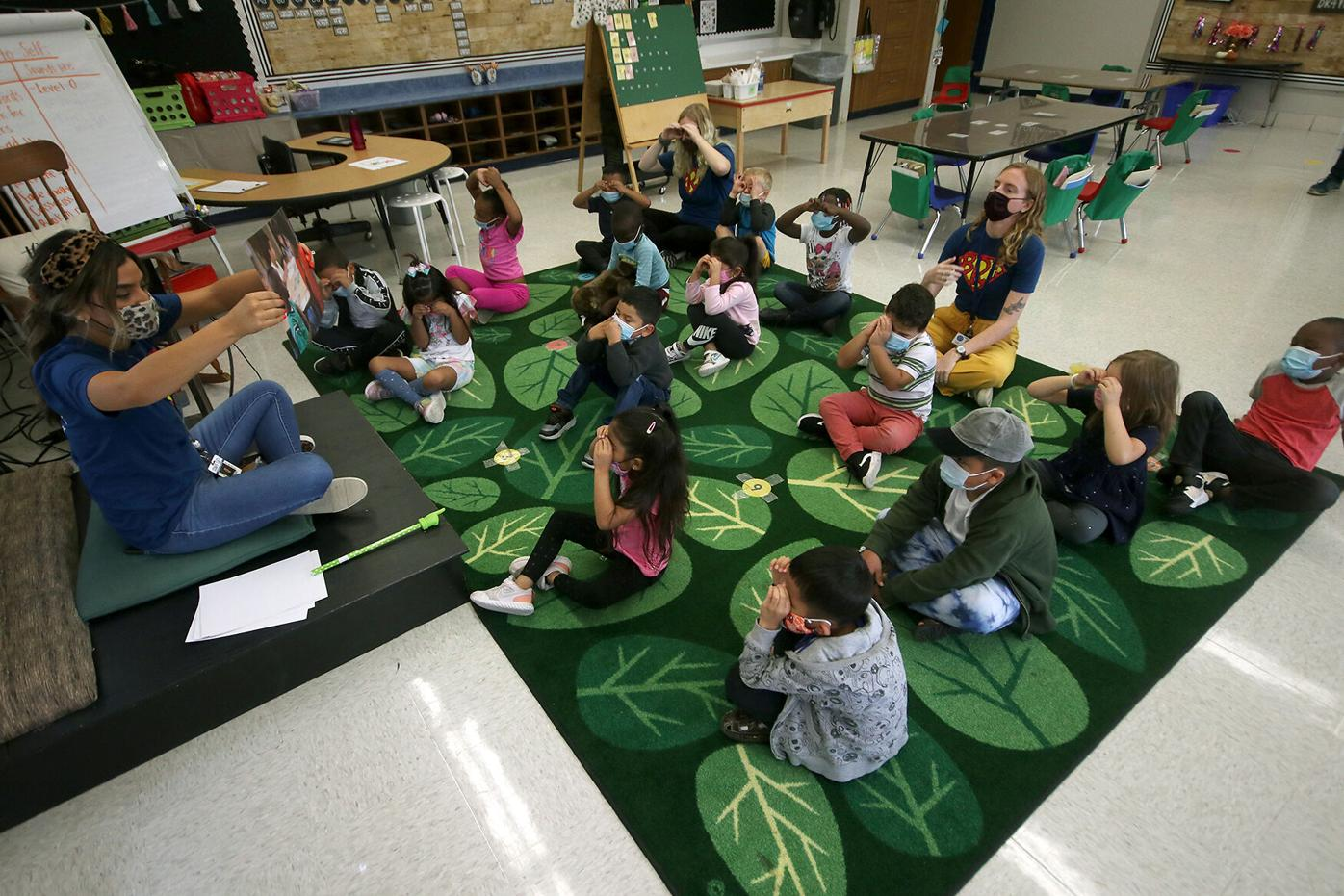 Students participate in a social-emotional learning lesson