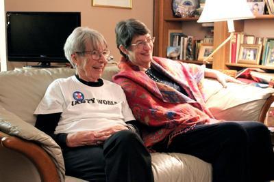 Betty Wilson and Mahree Skala laugh together