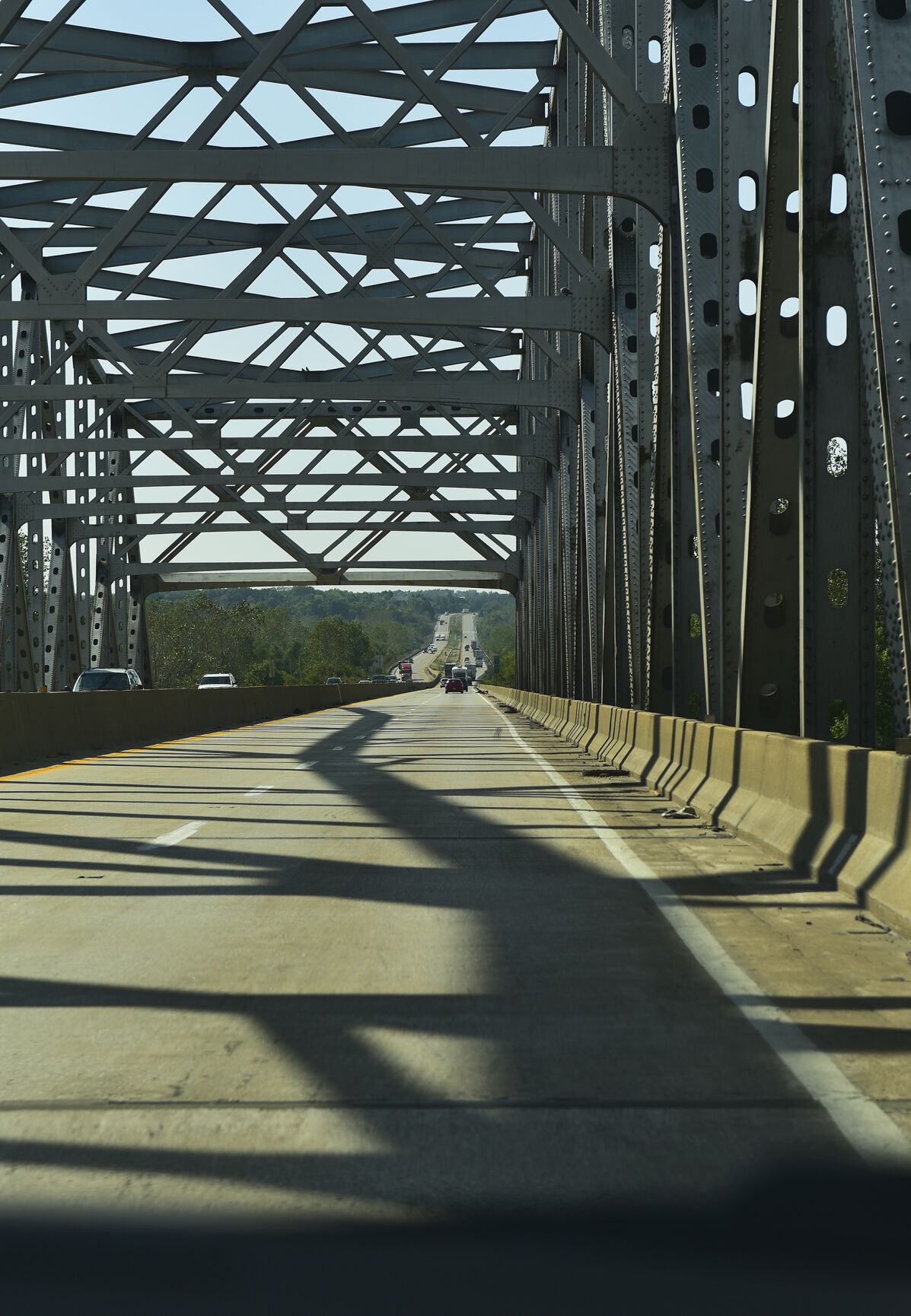 Shadow on I-70 Bridge on Tuesday, Oct. 12, 2021, at Les Bourgeois Vineyards Bistro in Rocheport