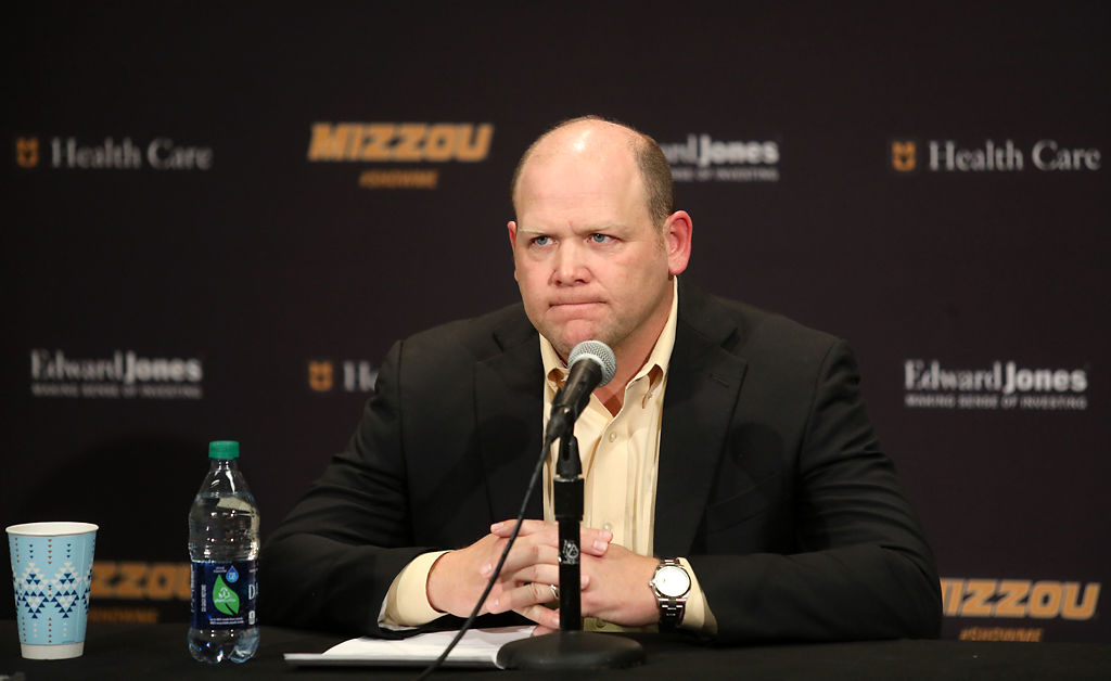 Former Missouri head football coach Barry Odom speaks at a press conference