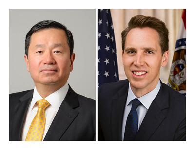 From Left, UM System President Mun Choi and Missouri Sen. Josh Hawley.