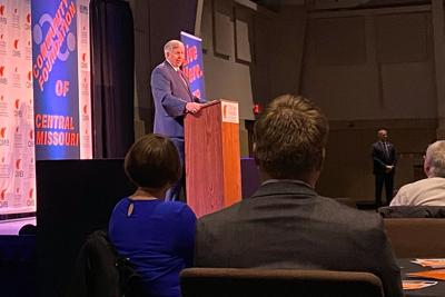 Gov. Mike Parson spoke at the Chamber of Commerce breakfast