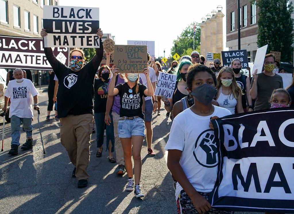 Protesters march through Columbia