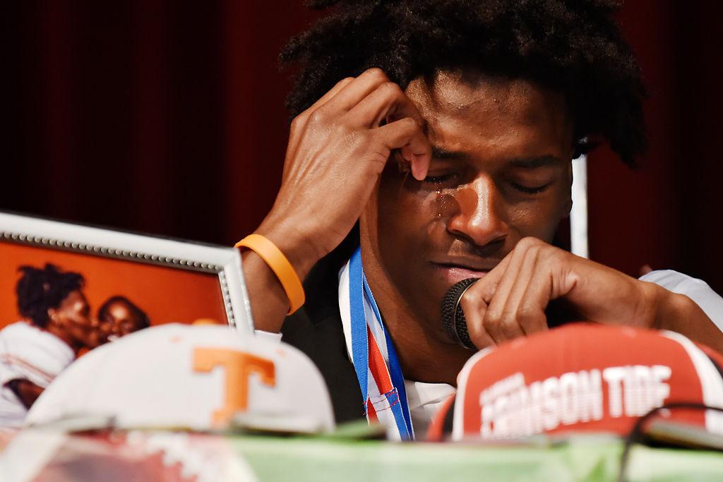Duncanville cornerback Ennis Rakestraw, Jr., begins to cry (copy)