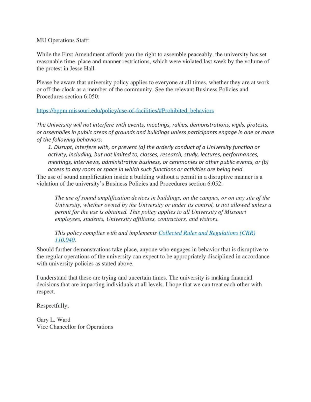 MU Operations letter to staff