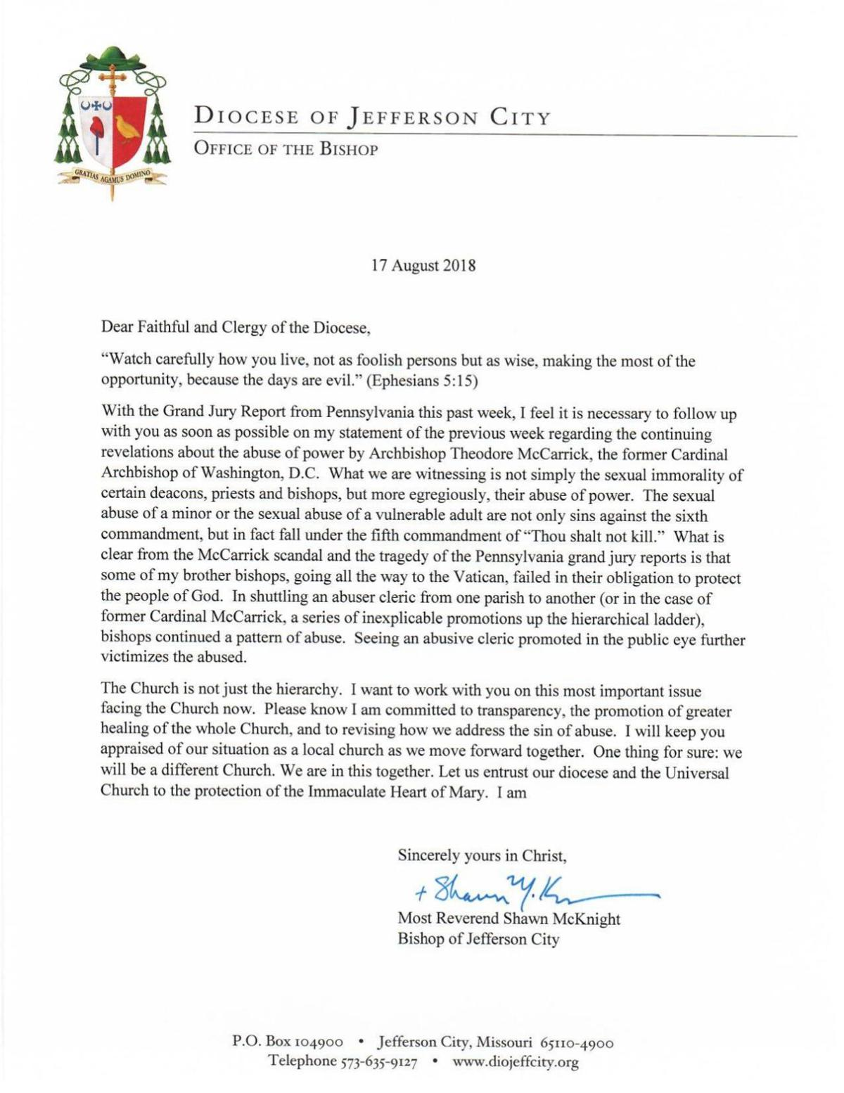 In letter to mid Missouri Catholics, bishop calls for better
