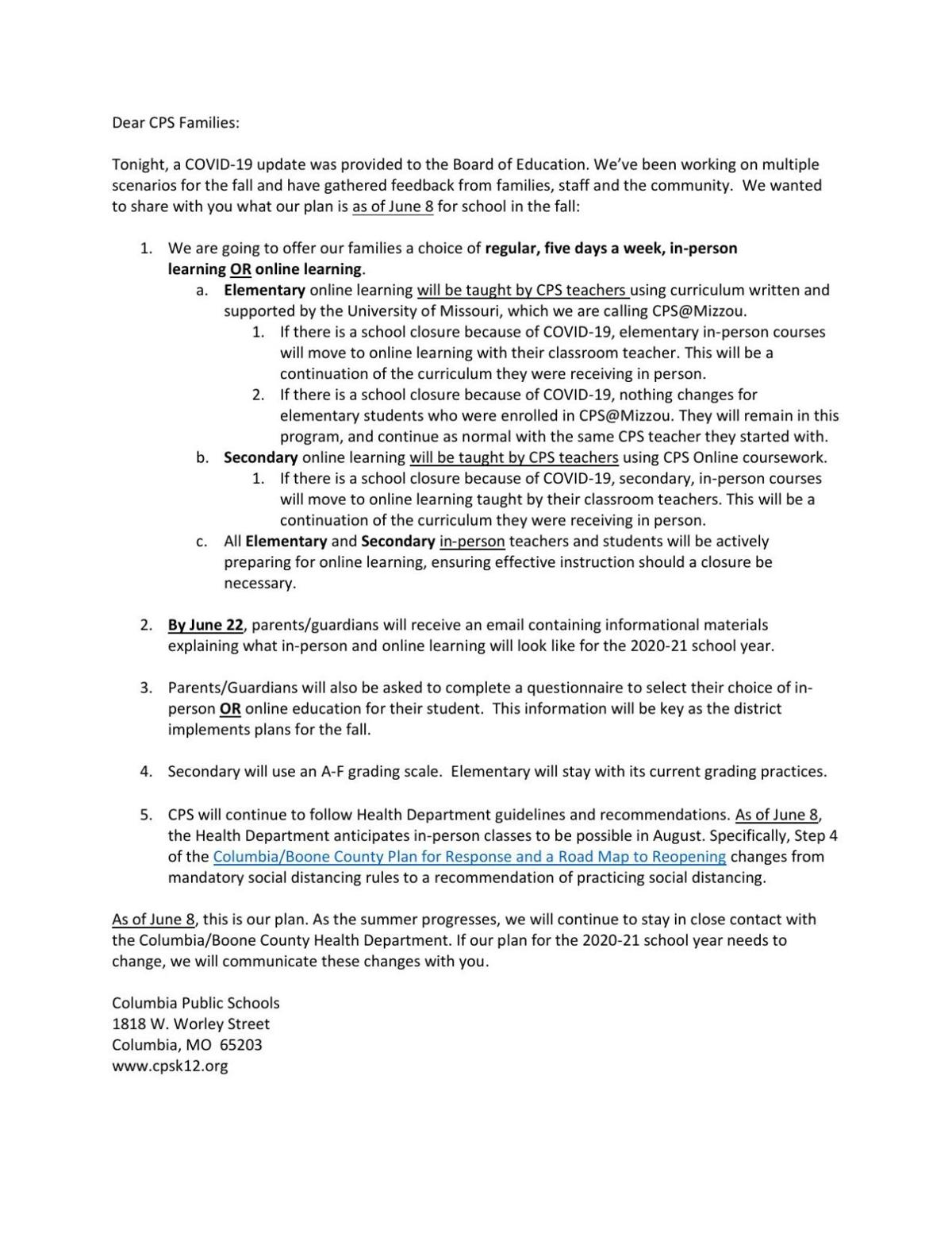 Letter to families about fall reopening