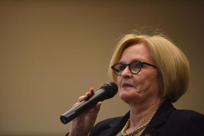 McCaskill speaks to MU students during a town hall meeting