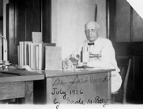 Former MU chemistry department chair Herman Schlundt looks up from his work in this 1926 photo